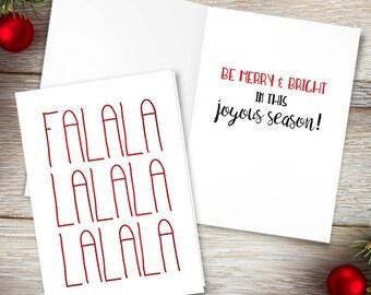 Falalalalalalalala Digital 5x7 Printable Folded Card - Size When Opened Is 10x7 - Merry Christmas Song Greeting Card Deck The Halls Holidays