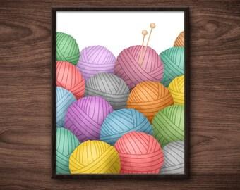 Knitting Needles And So Much Yarn Digital 8x10 Printable Poster Knitter Knits Illustration Balls Of Yarn Skeins Wool Pile Stash Fun Knit Art