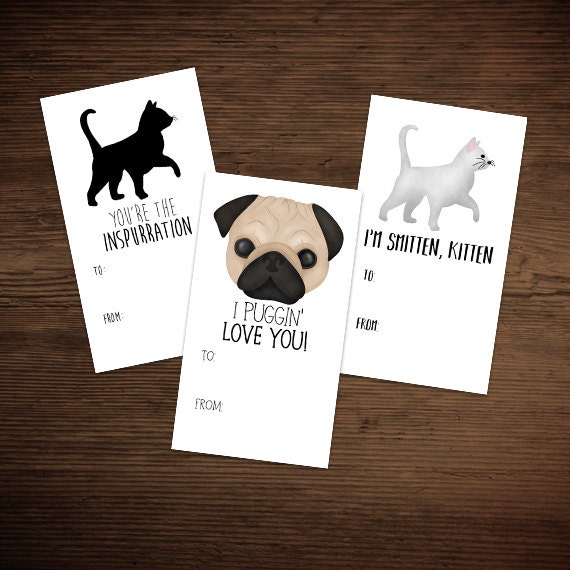 Happy Valentine S Day Digital Printable Gift Tags Set Of Etsy