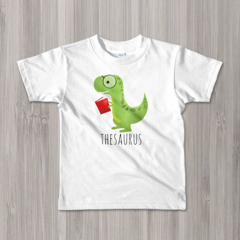 07f92e20 Funny Dinosaur Toddler Kids T-Shirt Thesaurus Children Tee | Etsy