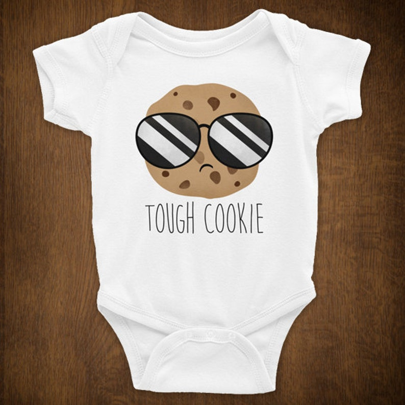 Unisex Baby Shower Gift New Parents Chocolate Chip Cookie Lover Food Pun Newborn Babies Puns Tough Cookie Funny Baby Infant Bodysuit