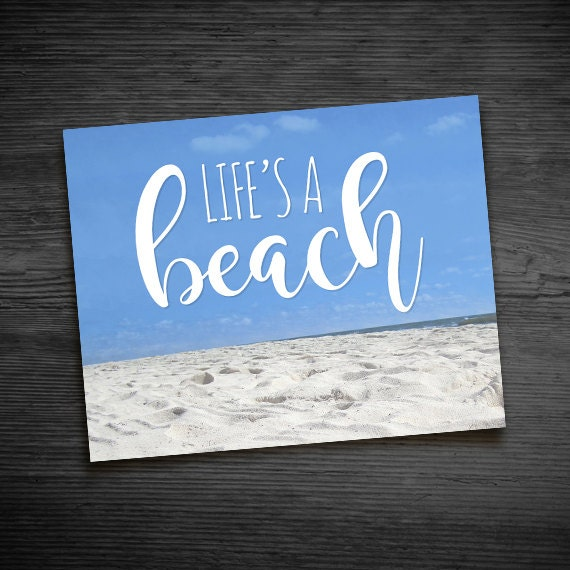 Life's A Beach Digital 8x10 Printable Poster Punny Sand Life's A Bitch  Ocean Vacation Tropical Puns Funny Fun Typography Sea Photography
