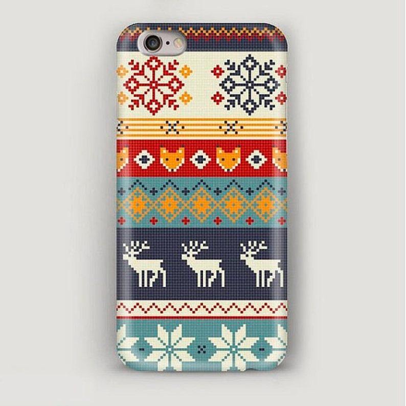 timeless design bb4c1 b689a iPhone 7 Case Deer Pattern, iPhone 6 Plus Case Christmas Gift, Scandinavian  Ornament iPhone Case, iPhone 5S Case, iPhone 4 Case, New Year