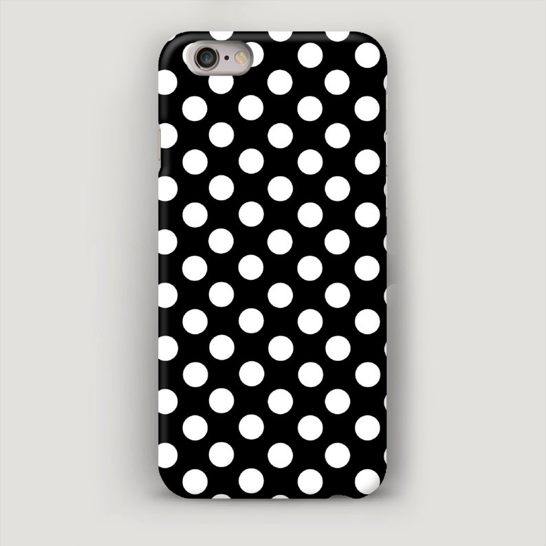 Polka Dots iPhone 7 Case, iPhone 7 Plus Case, Black White iPhone 5S Case,  iPhone SE Case, iPhone 5c Case, Galaxy S6 Case, Phone 5S Cover
