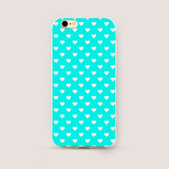 Mint Iphone 7 Case Hearts Iphone 6 Case Iphone 6 Plus Case Iphone 5s Case Iphone 5c Case Cute Phone Case Girl Phone Cover Apple Case