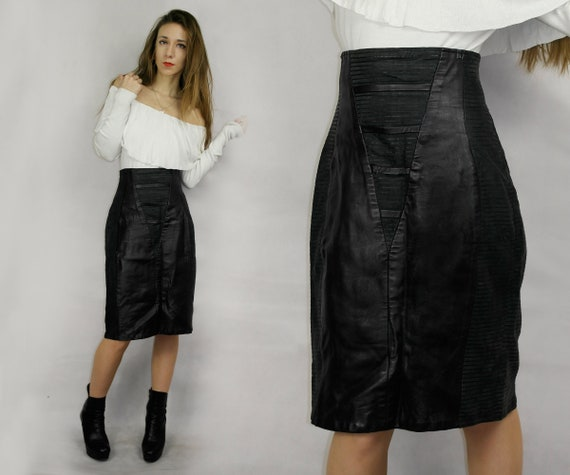 80s Black Real Leather Skirt / Joques Sac elegant
