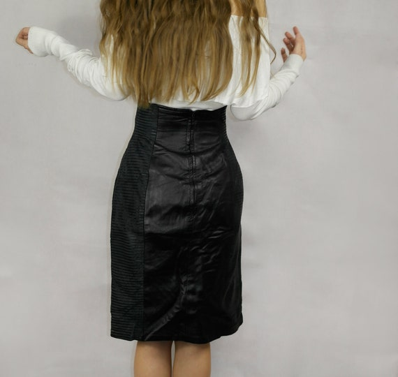 80s Black Real Leather Skirt / Joques Sac elegant… - image 8