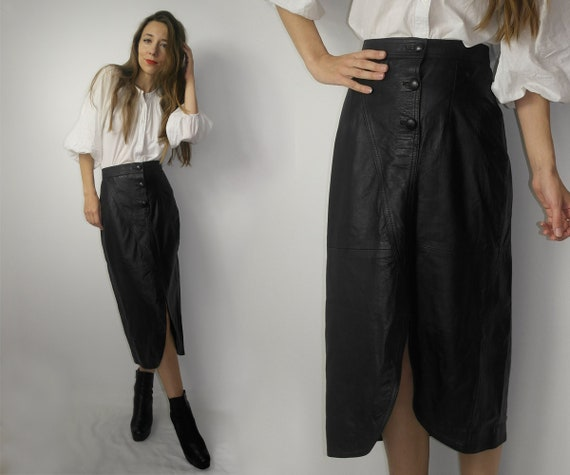 Vintage black leather skirt / elegant leather skir