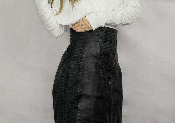 80s Black Real Leather Skirt / Joques Sac elegant… - image 7