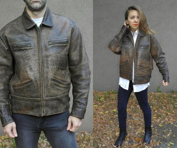 Vintage leather jacket / Chevignon leather jacket