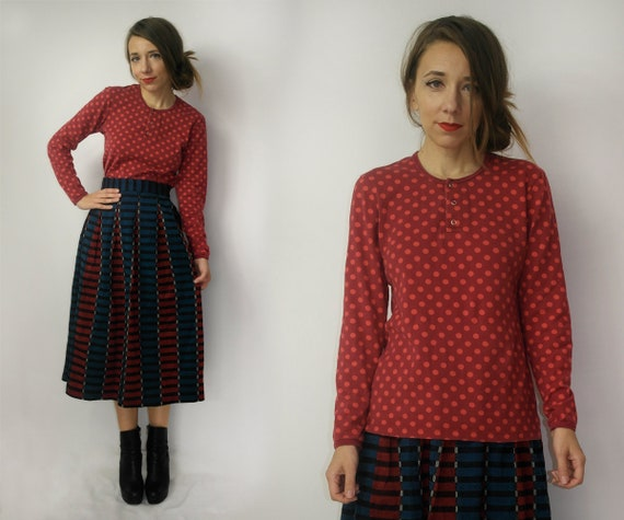 Marimekko top / Polka dot Marimekko cotton shirt /
