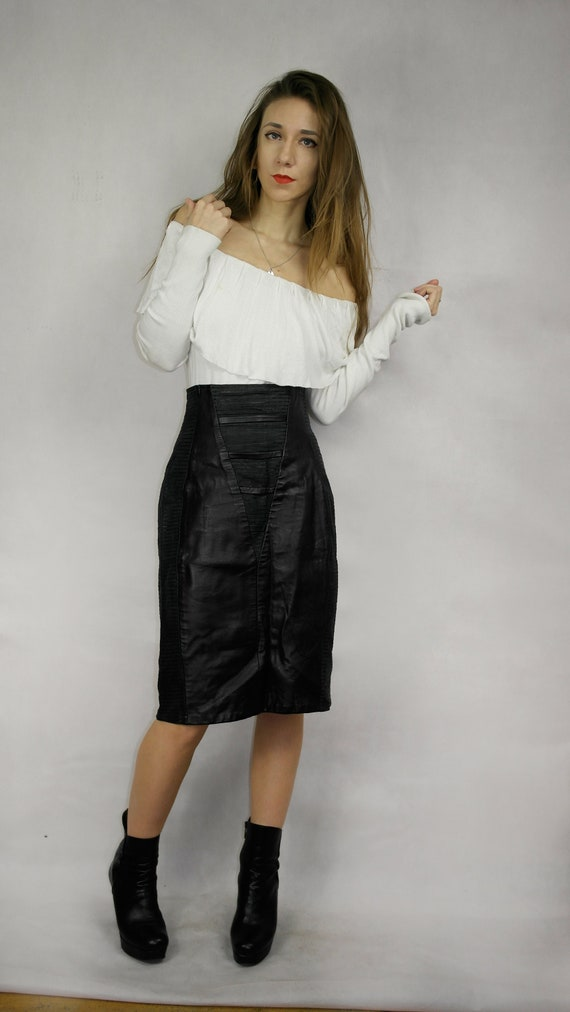 80s Black Real Leather Skirt / Joques Sac elegant… - image 3