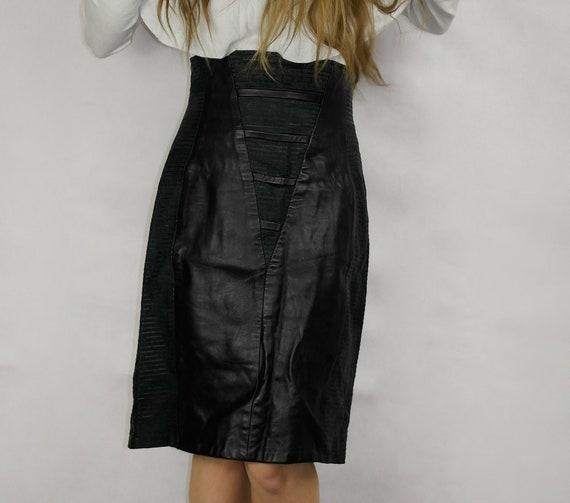 80s Black Real Leather Skirt / Joques Sac elegant… - image 5