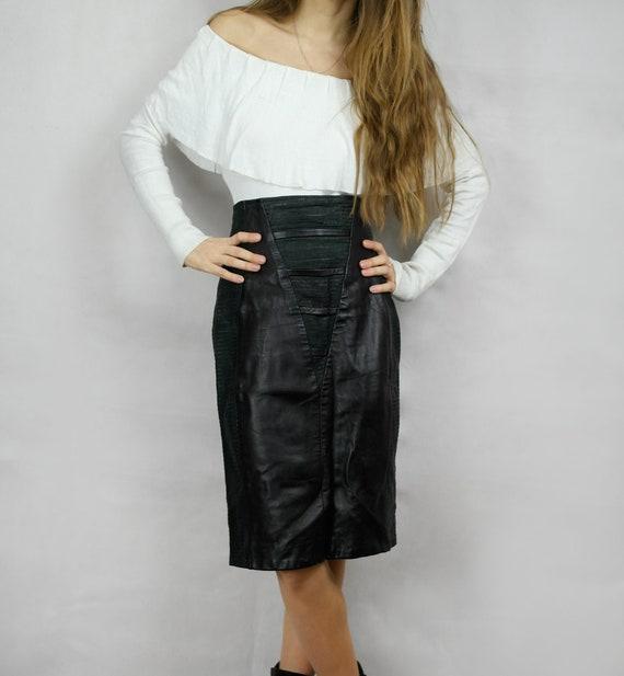 80s Black Real Leather Skirt / Joques Sac elegant… - image 2