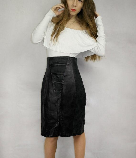 80s Black Real Leather Skirt / Joques Sac elegant… - image 6