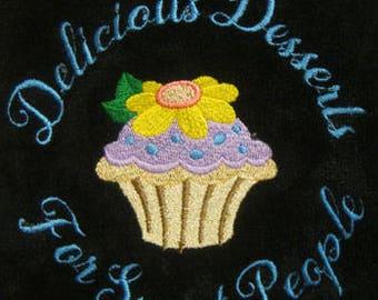 Embroidered Cupcake Kitchen Towel on Black-Bake Shop Baker Gift