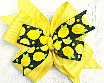 Lemon Hair Bow, Lemon Hair Clip, Yellow Lemon Bow, Lemonade Party Bow, Lemonade Headband, Lemonade Barrette, Yellow Lemon Hair Clip, Lemons