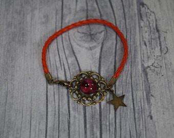 "Leather braided bracelet ""Asterisk"" Red"