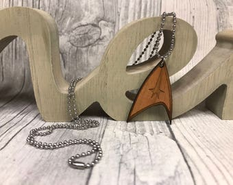 Necklace Star Trek Wood