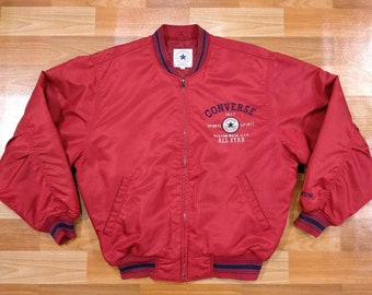 7c07bde270d7 Converse All Star Chuck Taylor Jacket size L large bomber baseball quilted  embroidered