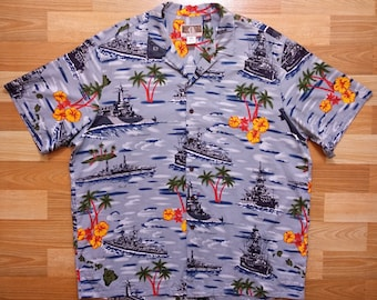 0ea1cde3 Vintage 90's Kalaheo by RJC hawaiian shirt size 2XL Battleship Pearl Harbor  WW2 world war 2 hawaii cotton rayon