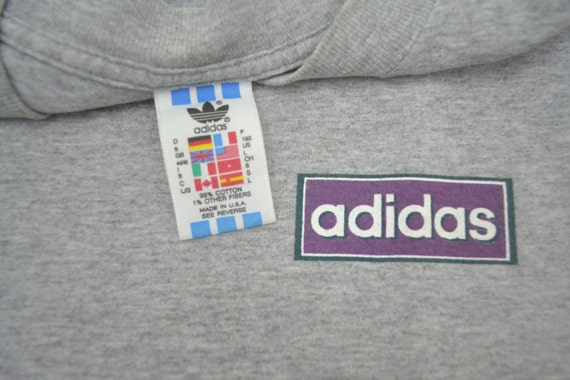 True 90's Vintage Adidas trefoil T shirt made USA heather gray Size LXL