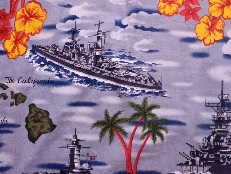 Vintage 90/'s Kalaheo by RJC hawaiian shirt size 2XL Battleship Pearl Harbor WW2 world war 2 hawaii cotton rayon