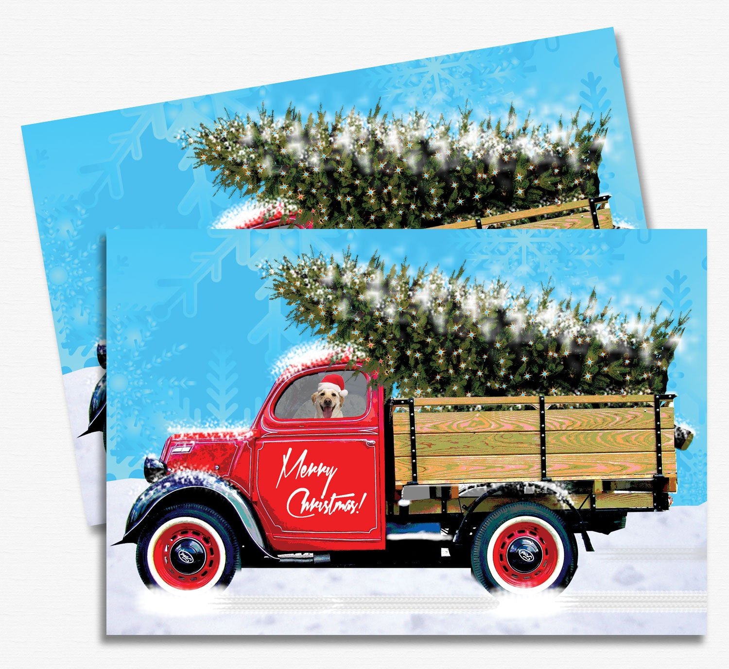 Christmas Card Printable – Vintage Truck, DIY Season's Greeting Cards,  Instant Download
