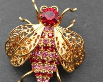 Bug Brooch Fun Figural Pink Red Rhinestones