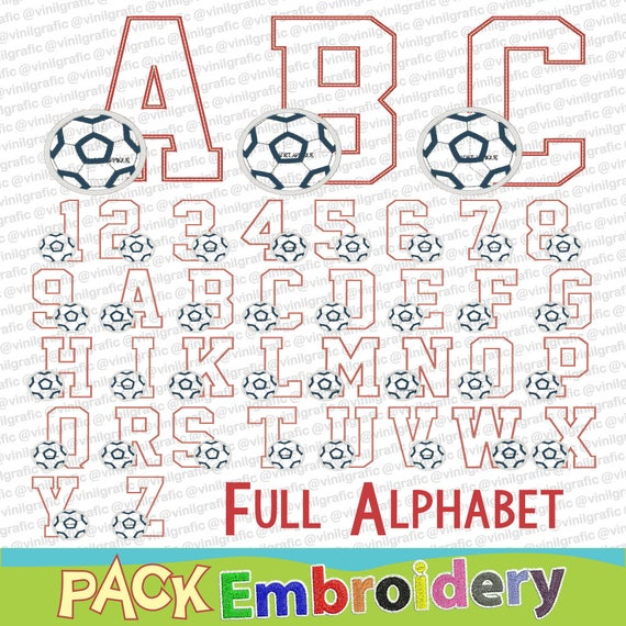 full alphabet numbers letters futbol soccer font embroidery sewing brother emb hus jef pes dst with resizer converter software included