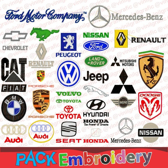Marcas Logos de Autos set de 40 Diseños Bordados Brother | Etsy
