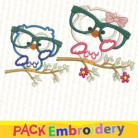Buhos set de 2 Diseños Bordados Ponchados Aves Pajaros Bordar | Etsy