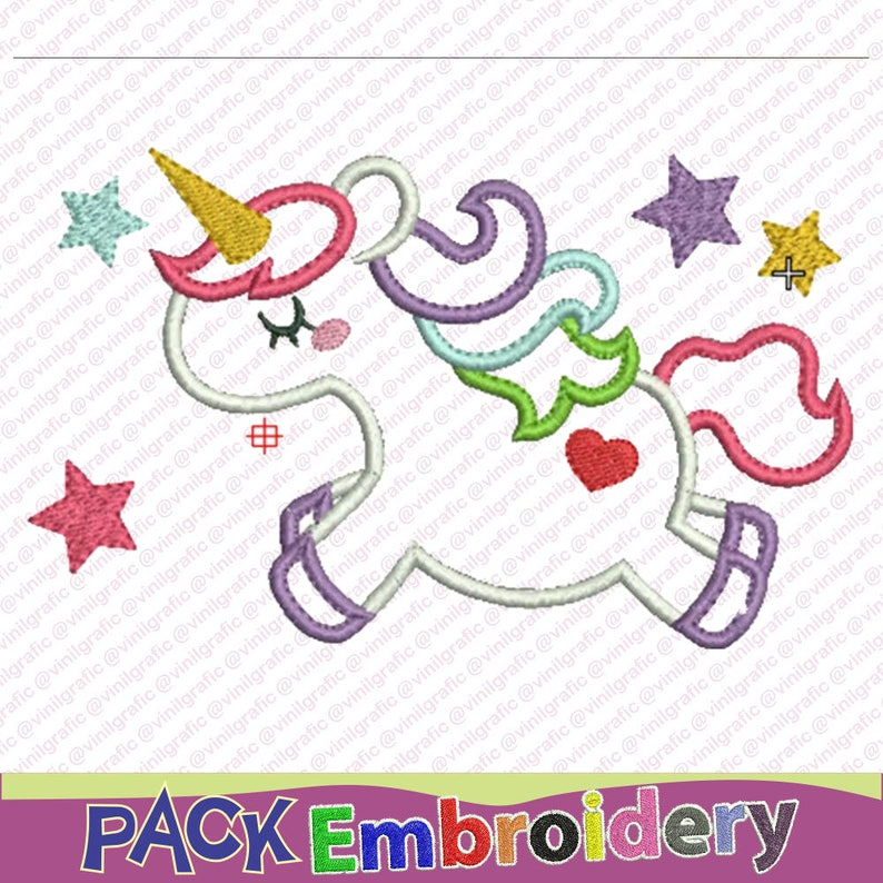 Unicorn embroidery design sewing brother emb hus jef pes dst with  resizer-converter software included