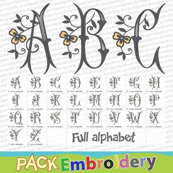 Full Alphabet Shamrock Flower Font Outlined Letters Embroidery Etsy