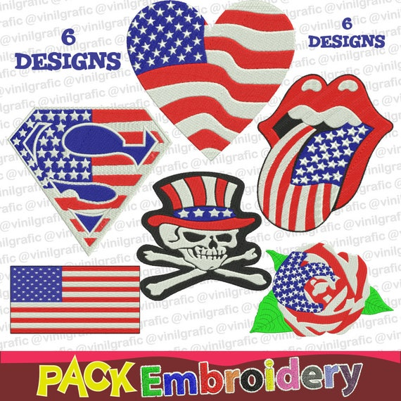 usa art symbols 6 embroidery designs sewing brother emb hus etsy