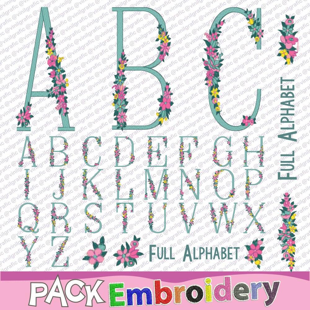 Shop Floral Monograms At Littlebrownnest Etsy Com: Floral Monogram Full Alphabet Embroidery Designs Sewing