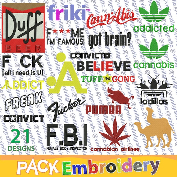 crazy brands parody 21 embroidery designs brother patterns kit hoop emb hus  jef pes dst with resizer-converter software included
