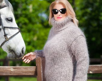 THICK Mohair Sweater, Chunky Knit Sweater, Turtleneck Jumper, Oversized Pullover, Men Sweater, Hand Knit Jumper by TanglesCreations