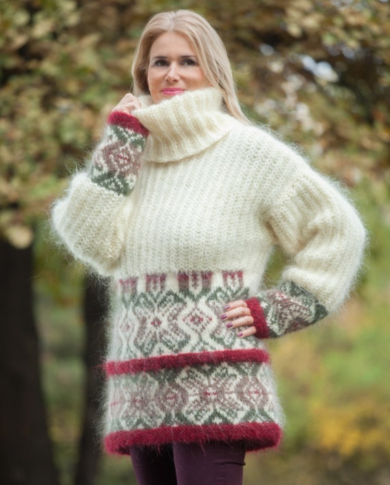 Mohair Zopfmuster Pullover nordische Pullover Jumper Fair Isle | Etsy