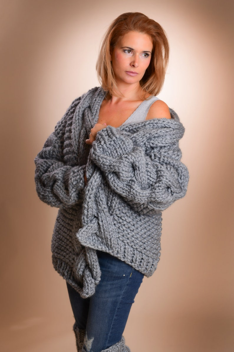 59f7be305c Chunky Knit Cardigan Oversized cardigan Open front knit