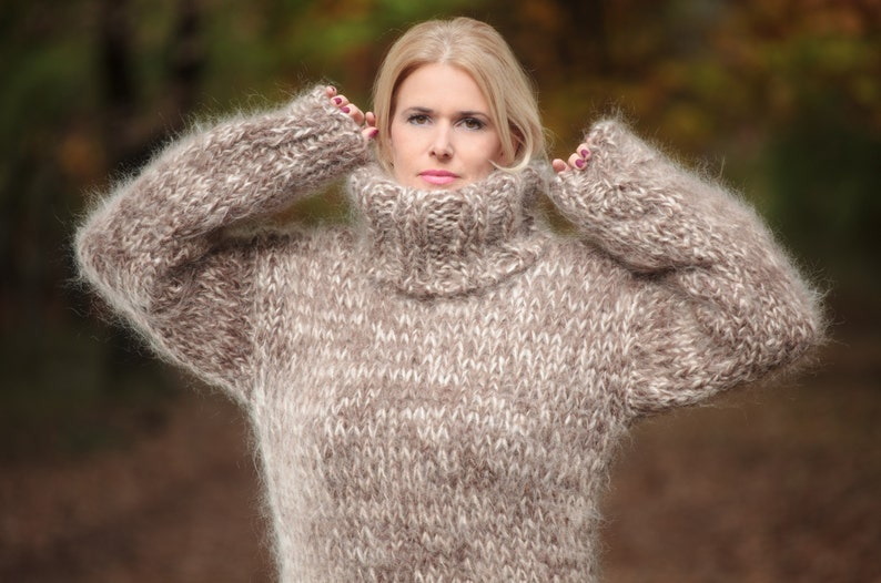 dbf79a8b1ad Thick Mohair Sweater Turtleneck sweater Chunky Knit Sweater