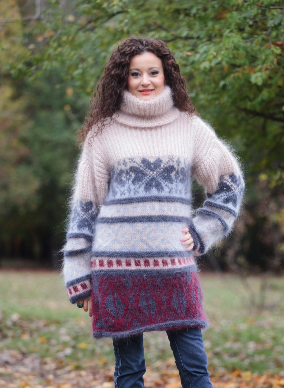 Mohair Sweater Dress Fair Isle Sweater Nordic Sweater
