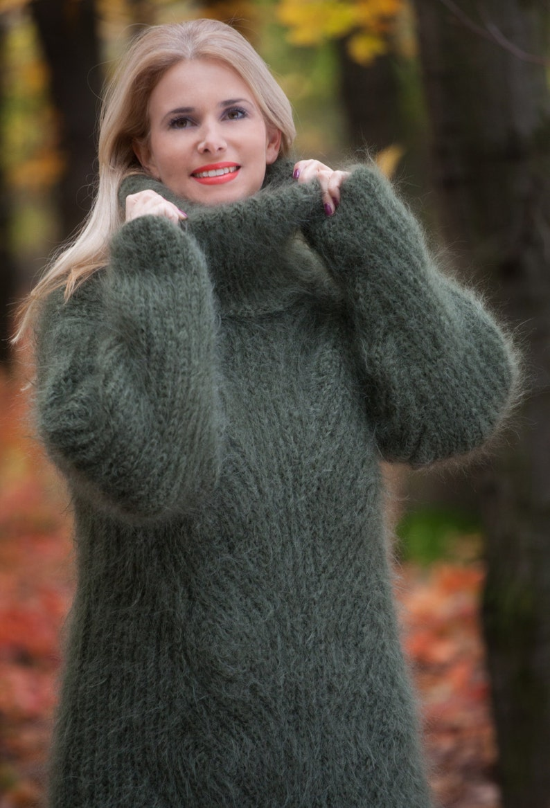 7c7e11ddef42cb Olive GREEN Mohair Sweater Chunky Turtleneck Cable Knit