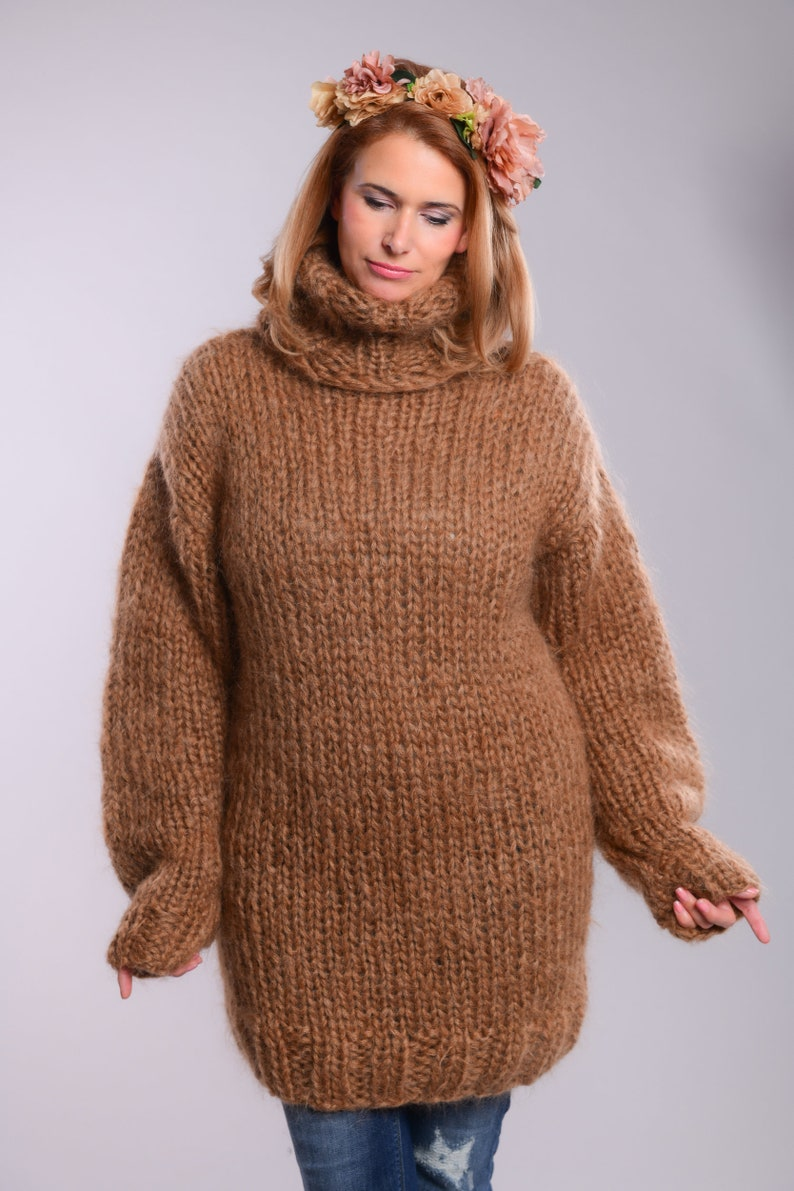 90a835249fd Thick Brown Mohair Sweater Turtleneck sweater Chunky Knit