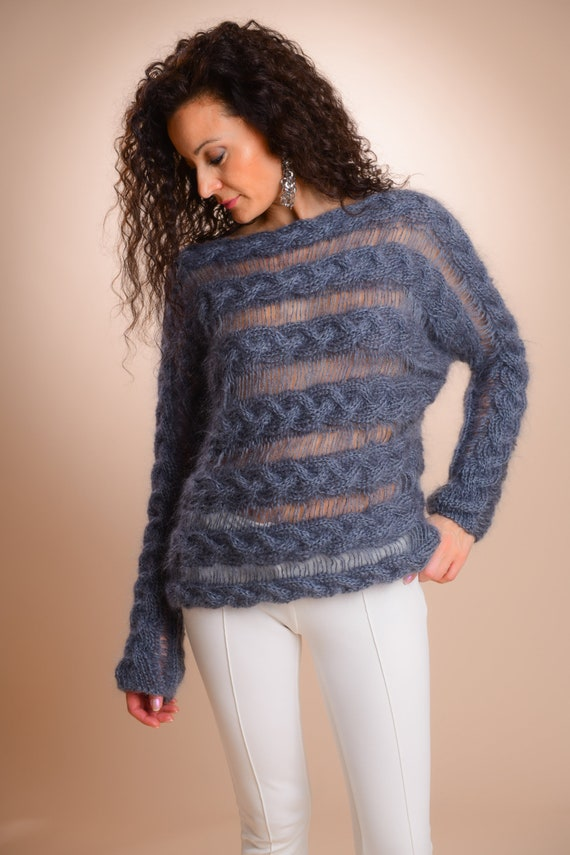 16ed583b9 Off shoulder sweater See trough Sweater Mohair Sweater