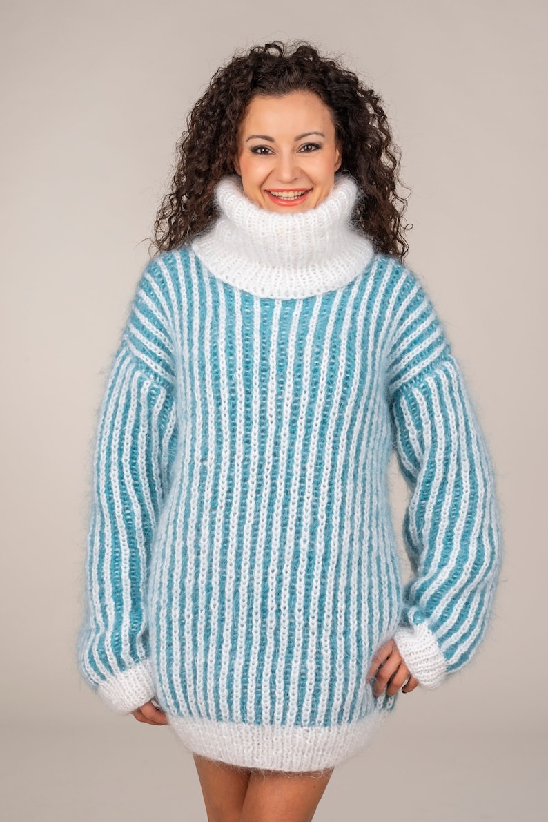 eb7c30cd032 Mohair Sweater Turtleneck Sweater Chunky pullover Double | Etsy