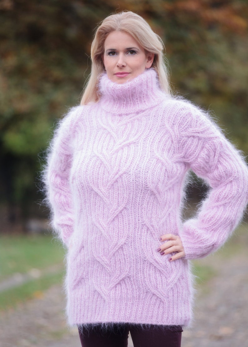 9875eff63e3d Pink Mohair Sweater Mohair Turtleneck Top Chunky Pullover