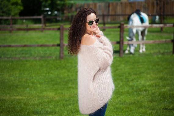 Off shoulder sweater Mohair Sweater dress Oversized Jumper  22330c555