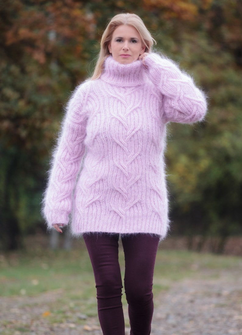 7e6cd2fea13 Turtleneck Mohair Sweater Pink Mohair Top Chunky Pullover