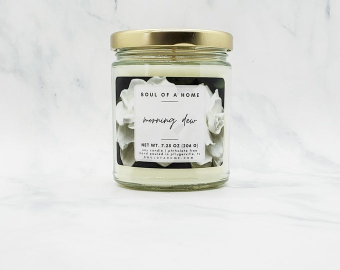 Featured listing image: 7.25 Oz Morning Dew Soy Wax Candle